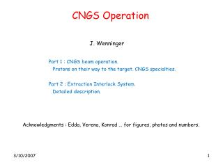 CNGS Operation