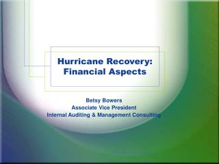 Hurricane Recovery: Financial Aspects