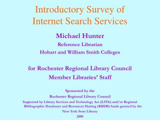 Introductory Survey of  Internet Search Services