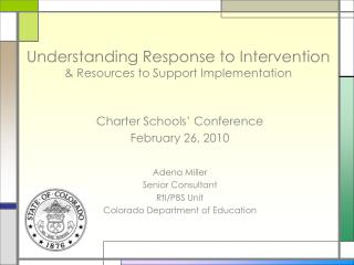 Understanding Response to Intervention  & Resources to Support Implementation