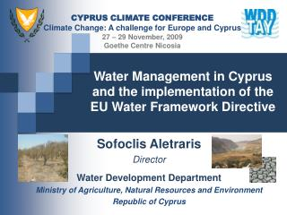 Water Management in Cyprus  and the implementation of the  EU Water Framework Directive