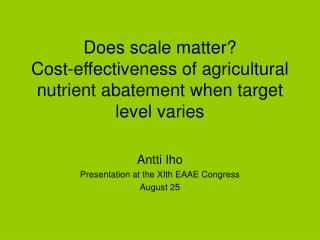 Does scale matter?  Cost-effectiveness of agricultural nutrient abatement when target level varies