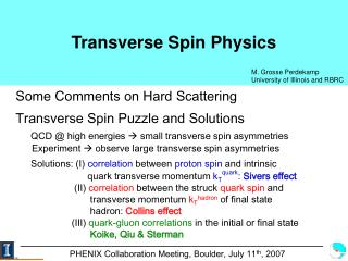 Transverse Spin Physics