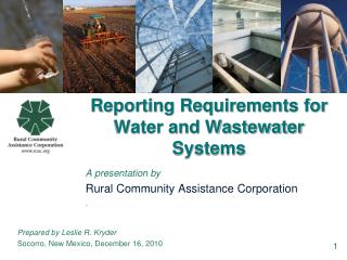 Reporting Requirements for Water and Wastewater Systems