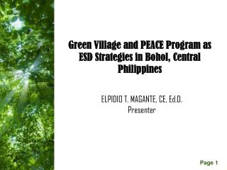 Green Village and PEACE Program as ESD Strategies in Bohol, Central Philippines