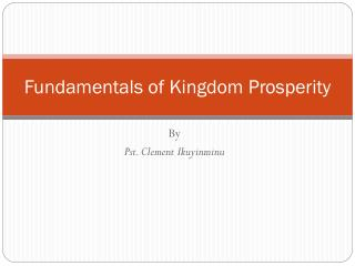 Fundamentals of Kingdom Prosperity