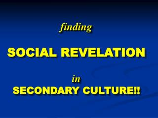 finding SOCIAL REVELATION in SECONDARY CULTURE!!