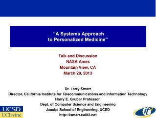 """A Systems Approach to Personalized Medicine"""
