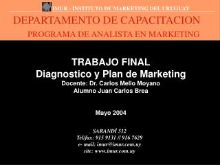 DEPARTAMENTO DE CAPACITACION PROGRAMA DE ANALISTA EN MARKETING