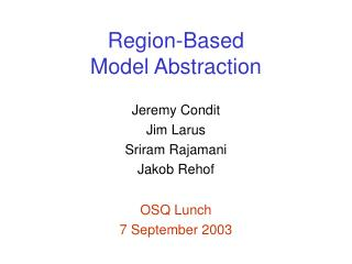 Region-Based Model Abstraction