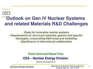 Outlook on Gen IV Nuclear Systems  and related Materials R&D Challenges