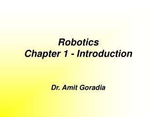 Robotics Chapter 1 - Introduction