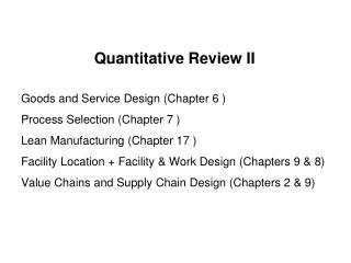 Quantitative Review II