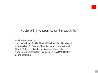 Module 1 | Anaemia an introduction