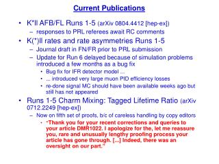 K*ll AFB/FL Runs 1-5 (arXiv 0804.4412 [hep-ex]) responses to PRL referees await RC comments