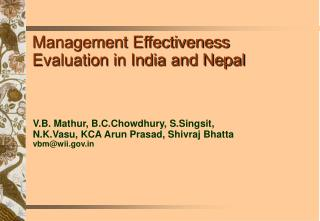Management Effectiveness Evaluation in India and Nepal
