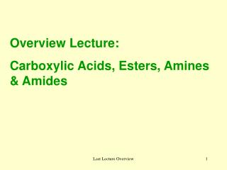 Overview Lecture:  Carboxylic Acids, Esters, Amines & Amides