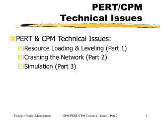 PERT/CPM Technical Issues