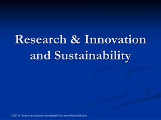 Research & Innovation and Sustainability