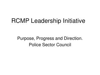 RCMP Leadership Initiative