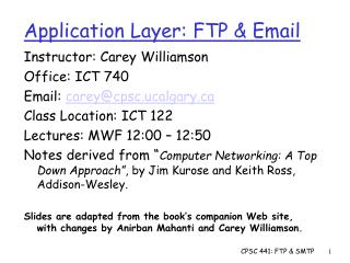 Application Layer: FTP & Email