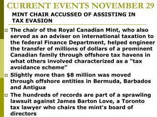 CURRENT EVENTS NOVEMBER 29