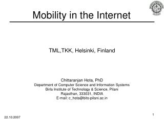Mobility in the Internet