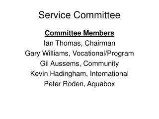 Service Committee