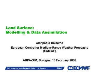 Land Surface: Modelling & Data Assimilation