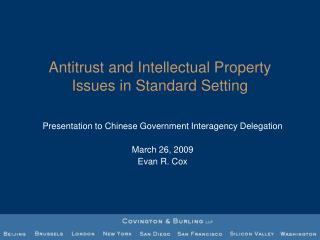 Antitrust and Intellectual Property Issues in Standard Setting
