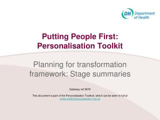Transition to transformation of adult social care