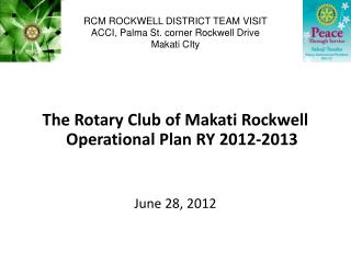 RCM ROCKWELL DISTRICT TEAM VISIT ACCI, Palma St. corner Rockwell Drive Makati CIty