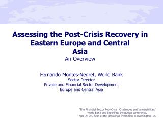 Assessing the Post-Crisis Recovery in Eastern Europe and Central  Asia  An Overview