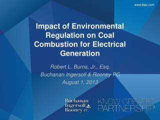 Impact of Environmental Regulation on Coal Combustion for Electrical Generation