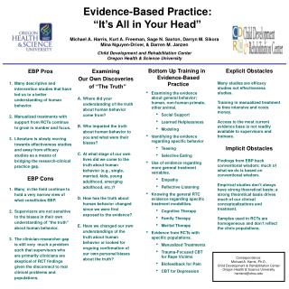 "Evidence-Based Practice: ""It's All in Your Head"""