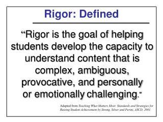 Rigor: Defined