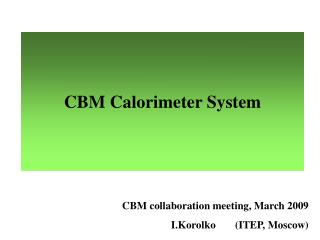 CBM Calorimeter System