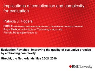 Evaluation Revisited: Improving the quality of evaluative practice by embracing complexity