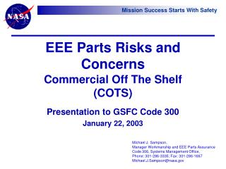 EEE Parts Risks and Concerns