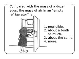 "Compared with the mass of a dozen eggs, the mass of air in an ""empty refrigerator"" is"