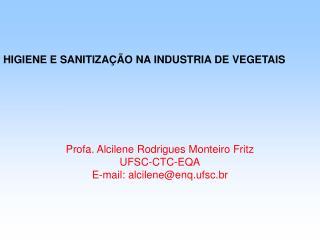 HIGIENE E SANITIZAÇÃO NA INDUSTRIA DE VEGETAIS Profa. Alcilene Rodrigues Monteiro Fritz