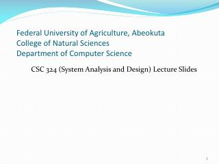 CSC 324 (System Analysis and Design) Lecture Slides