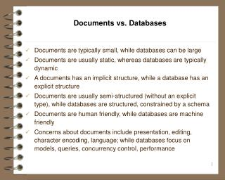 Documents vs. Databases