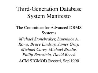 Third-Generation Database System Manifesto