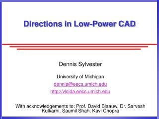Directions in Low-Power CAD