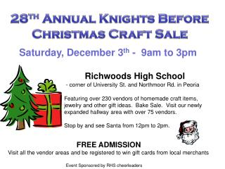 Saturday, December 3 th  -  9am to 3pm