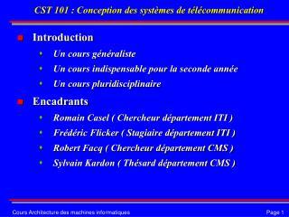 CST 101 : Conception des systèmes de télécommunication