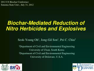 Biochar-Mediated Reduction of Nitro Herbicides and Explosives