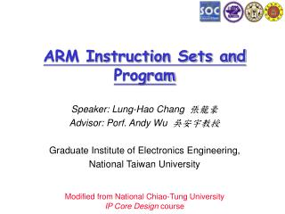 ARM Instruction Sets and Program