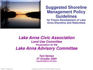 Suggested Shoreline Management Policy Guidelines for Future Development of Lake Anna Shoreline and Watershed